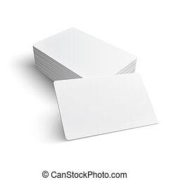 pilha, de, em branco, negócio, card.
