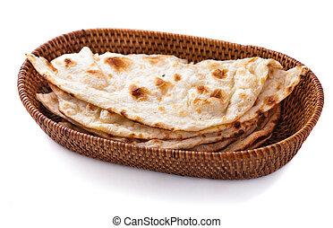 pilha, de, indianas, pão naan, em, pequeno, cesta