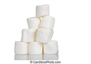 pilha, de, marshmallows