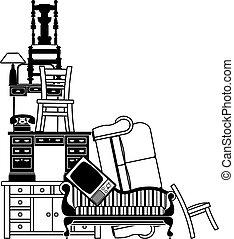 pilha, de, mobília