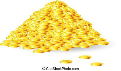 pilha, de, moedas ouro