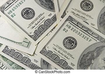 pilha, de, one-hundred, dólar cobra