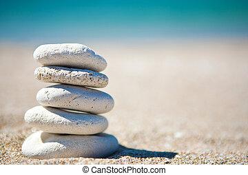 pilha, de, pedras brancas