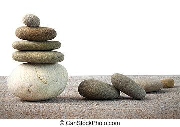 pilha, de, spa, pedras, ligado, madeira, branco