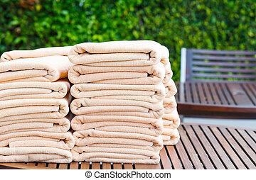 pilha, de, toalhas