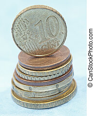 Pilha, dez, topo, moedas, centavo, moeda,  Euro