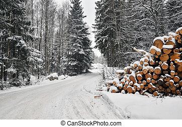 pilha, estrada, madeira