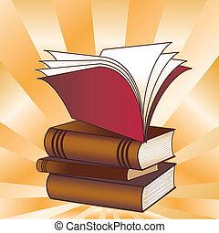 pilha, livro, costas, escola