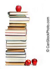 pilha livros, branco