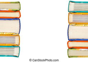 pilha livros, branco, fundo
