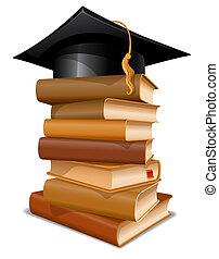 pilha livros, com, boné graduação