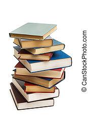 pilha livros, isolado, ligado, a, branca