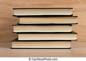 pilha livros, ligado, madeira, fundo