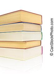 pilha livros, ligado, um, fundo branco
