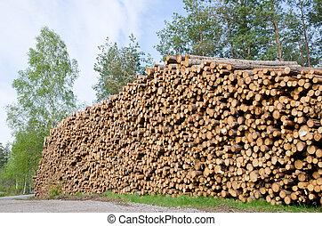 pilha, madeira