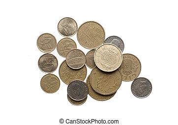 pilha, moedas, antigas, espanhol