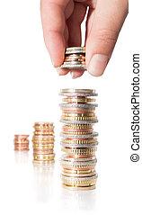 pilha, moedas, -, aumento, mão