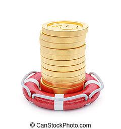 pilha moedas, com, lifebuoy