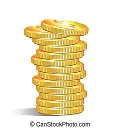 pilha, moedas, dólar, ouro