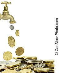 pilha, moedas, torneira