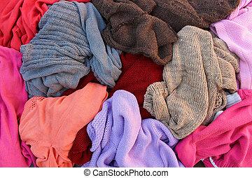 pilha, morno, disperso, carelessly, clothes.