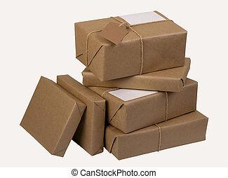pilha, pacotes, correio