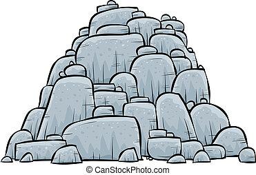 pilha, pedras