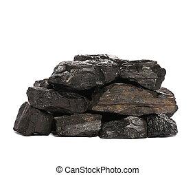 pilha, pretas, carvão, isolado, branco, fundo