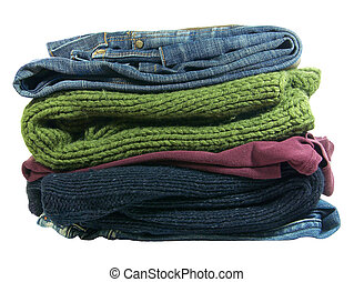 pilha, roupas