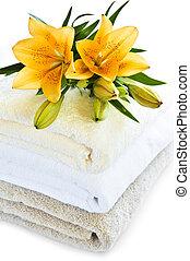 pilha, toalhas