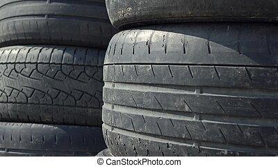 pilhas, de, antigas, carro usado, tyres., eliminação, local