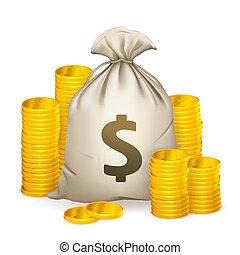 pilhas, de, moedas, e, saco dinheiro, 10eps