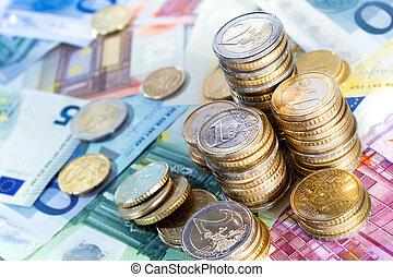 pilhas, dinheiro, euro, contas