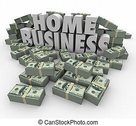 pilhas, negócio, dinheiro, fazer, dinheiro, palavras, lar, pilhas, 3d