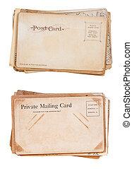 pilhas, postais, em branco, dois, vindima