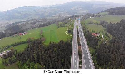 piliers, béton, montagnes, vue, autoroute, aérien, viaduc