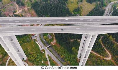 piliers, béton, trafic, montagnes, vue, autoroute, aérien, ...