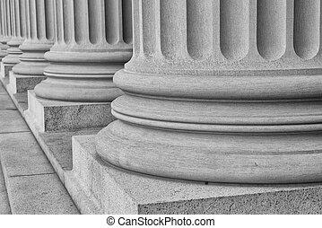piliers, blanc, noir