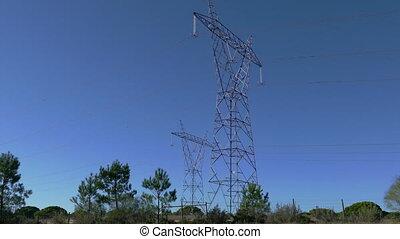 piliers, ligne, électro, puissance, vue