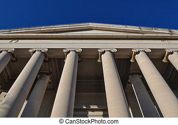 piliers, ou, colonnes, ciel bleu