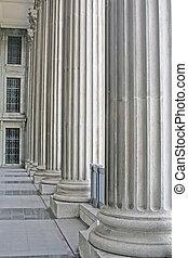 piliers, pierre, tribunal, dehors