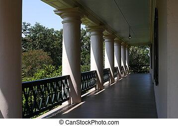 piliers, plantation, allée chêne