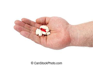 pill., 医学, 手, カプセル, 背景, 白