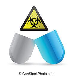 pill and bio hazard symbol illustration design over a white...