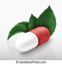 pill, bladen, grön, kapsel
