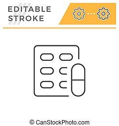 Pill blister editable stroke line icon