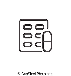Pill blister line icon