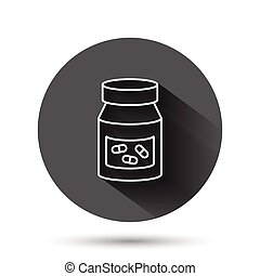 Pill bottle icon in flat style. Drugs vector illustration on black round background with long shadow effect. Pharmacy circle button business concept.