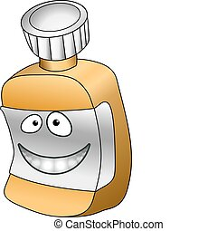 A vector illustration of an anthropomorphic pill / vitamin bottle