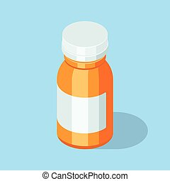 Pill bottle. Medical capsules container.